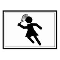 Female Tennis Player - Tennis Symbol Business Card Templates