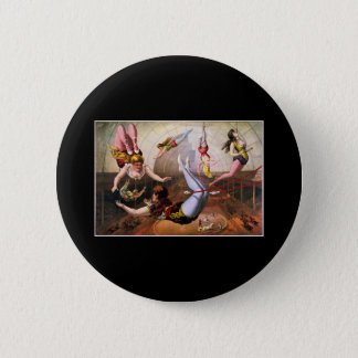 Female trapeze acrobats at circus pinback button