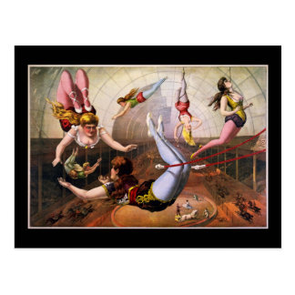 Female trapeze acrobats at circus postcard