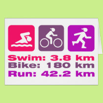 Female Triathlete Encouragement Swim Bike Run Pink Card