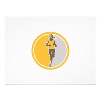 Female Triathlete Marathon Runner Circle Retro Invitations