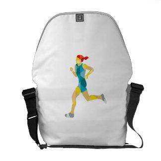 Female Triathlete Marathon Runner Low Polygon Messenger Bags