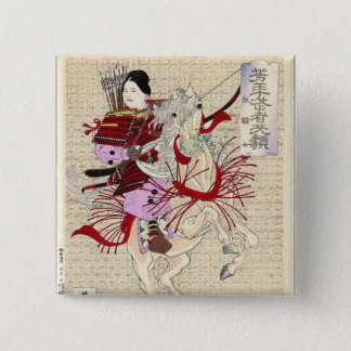 Female Warrior Japanese Woodblock Print Pinback Button