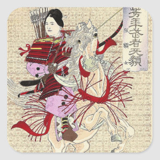 Female Warrior Japanese Woodblock Print Square Sticker