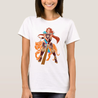 Female Warrior with Tiger and Sword T-Shirt