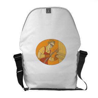 Female Welder Acetylene Welding Vintage Mono Line Messenger Bag