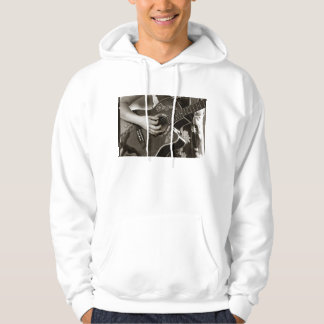Female with acoustic  Guitar hand and hip view Hoodie