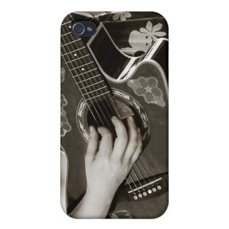 Female with acoustic  Guitar hand and hip view iPhone 4/4S Covers