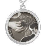 Female with acoustic  Guitar hand and hip view Custom Necklace