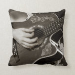 Female with acoustic  Guitar hand and hip view Throw Pillows