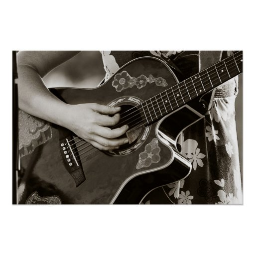 Female with acoustic  Guitar hand and hip view Print