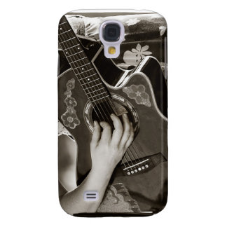 Female with acoustic  Guitar hand and hip view Samsung Galaxy S4 Cover