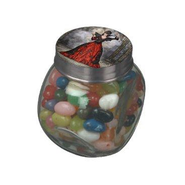 Halloween Themed Female Wizard Glass Candy Jar