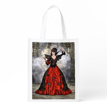 Halloween Themed Female Wizard Grocery Bag