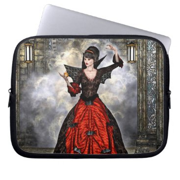 Halloween Themed Female Wizard Laptop Sleeve
