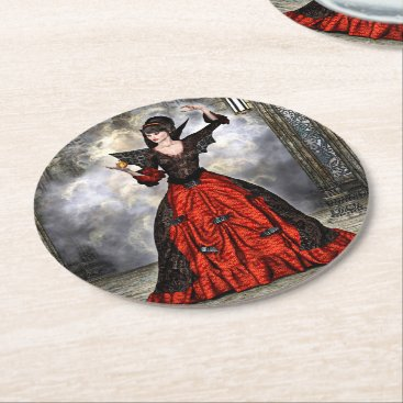 Halloween Themed Female Wizard Round Paper Coaster