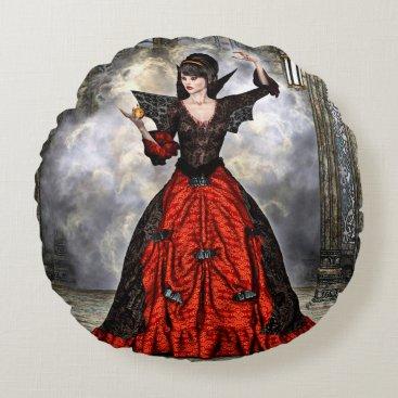 Halloween Themed Female Wizard Round Pillow