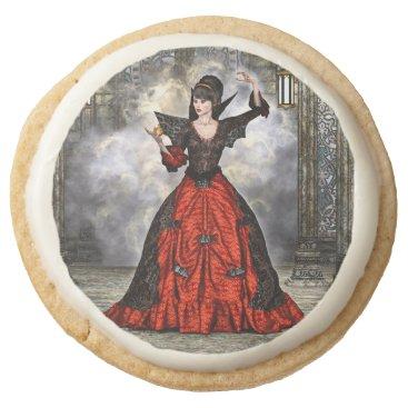 Halloween Themed Female Wizard Round Shortbread Cookie