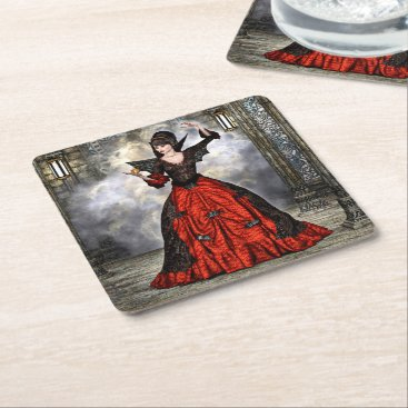 Halloween Themed Female Wizard Square Paper Coaster