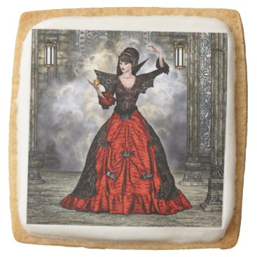 Halloween Themed Female Wizard Square Shortbread Cookie