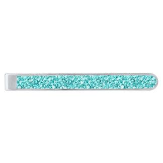 Femenino, brillo azul de la aguamarina de la alfiler de corbata plateado