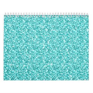 Femenino, brillo azul de la aguamarina de la calendarios de pared