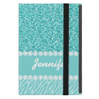 Femenino, brillo del trullo, rayas de la cebra iPad mini coberturas