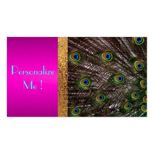 Femenino de moda del pavo real rosado elegante/Cas Plantillas De Tarjetas Personales