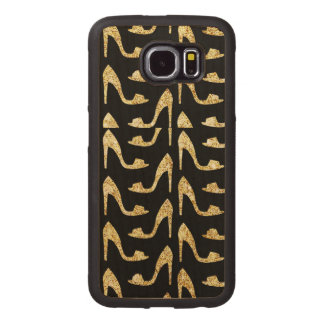 femenino, de moda, oro, negro, tacones altos, funda de madera para samsung galaxy s6