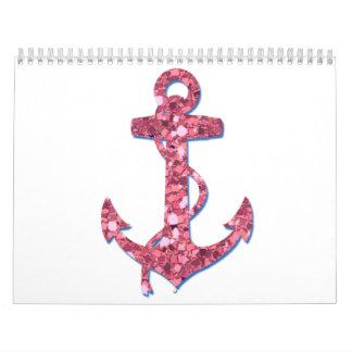 Femenino, diversión, ancla rosada del brillo calendarios
