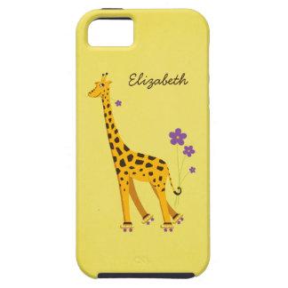 Femenino duro del amarillo de la jirafa del dibujo iPhone 5 Case-Mate carcasas