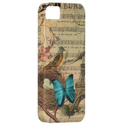 femenino floral de la mariposa botánica francesa d iPhone 5 Case-Mate cárcasas