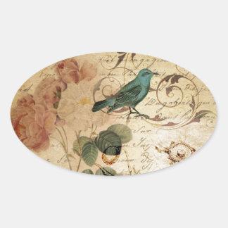 femenino floral del pájaro color de rosa botánico calcomania óval personalizadas