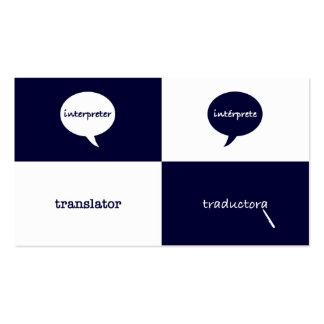 Femenino inglés- del intérprete/del traductor tarjetas de visita