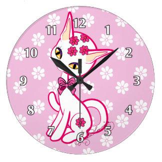 ~ femenino lindo del rosa del gato del gatito reloj redondo grande