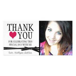 Femenino lindo le agradece con la foto tarjeta personal