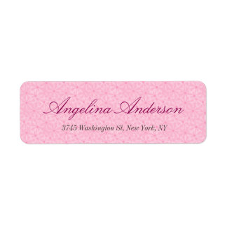 Femenino moderno de la escritura rosada elegante etiqueta de remite