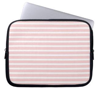 Femenino palidezca - las rayas rosadas y blancas funda computadora