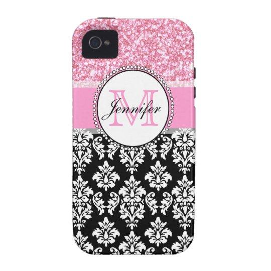 Femenino, rosa, brilla el damasco negro carcasa vibe iPhone 4