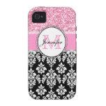 Femenino, rosa, brilla el damasco negro iPhone 4 carcasa