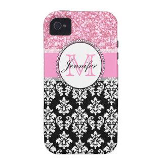 Femenino, rosa, brilla el damasco negro Case-Mate iPhone 4 fundas