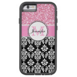 Femenino, rosa, brilla el damasco negro funda de iPhone 6 tough xtreme