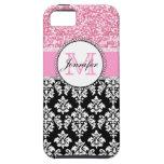 Femenino, rosa, brilla el damasco negro personaliz iPhone 5 cárcasa