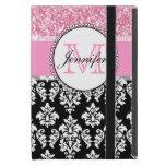 Femenino, rosa, brilla el damasco negro personaliz iPad mini cobertura
