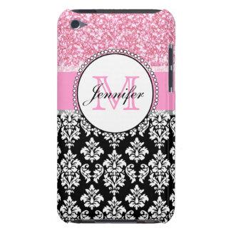 Femenino, rosa, brilla el damasco negro personaliz iPod touch Case-Mate protectores