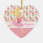 Femenino rosado floral de la bailarina caprichosa  ornamentos de reyes