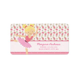 Femenino rosado floral de la bailarina caprichosa etiquetas de dirección