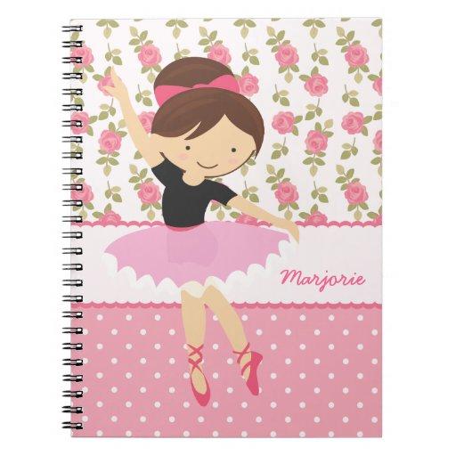 Femenino rosado floral de la bailarina caprichosa  libretas espirales