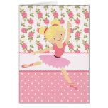 Femenino rosado floral de la bailarina caprichosa  tarjetón