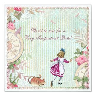 Feminine Alice in Wonderland Shabby Chic Birthday Card